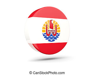Round icon with flag of french polynesia 3D illustration
