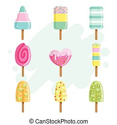 Ice Creams On Stick Collection Of Bright Color Isolated...