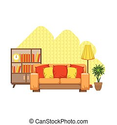Living Room Interior Design Flat Cartoon Stylized Vector...