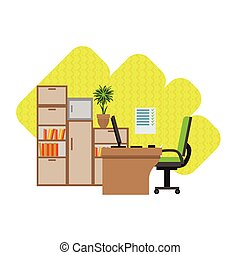 Home Office Interior Design Flat Cartoon Stylized Vector...