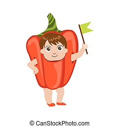 Boy Dressed As Sweet Pepper Colorful Simple Design Vector...