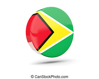 Round icon with flag of guyana 3D illustration