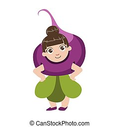 Girl Dressed As Beetroot Colorful Simple Design Vector...