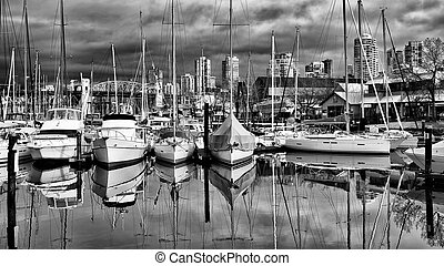 Granville Island on a Cloudy Day - Sailboats sitting in calm...