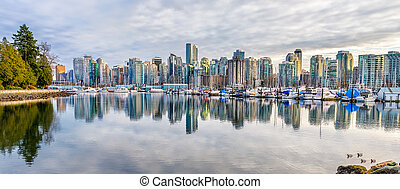 Coal Harbor at Sunset - Stunning view of Coal Harbor in...