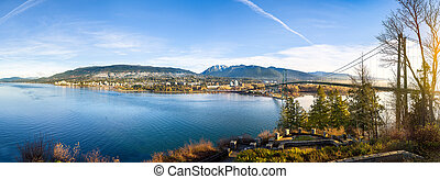West Vancouver, BC After Sunrise - Panoramic View across...