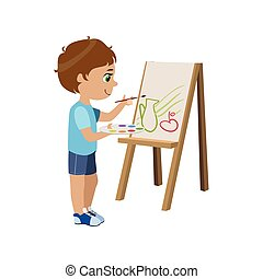 Little Boy Painting Colorful Simple Design Vector Drawing...