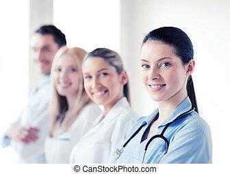 ou, doutores, Grupo, jovem, equipe