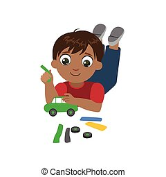 Boy Sculpting A Car Colorful Simple Design Vector Drawing...