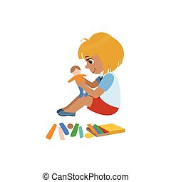 Girl Sculpting A Figure Colorful Simple Design Vector...