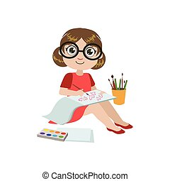 Girl Drawing Aquarelle Colorful Simple Design Vector Drawing...