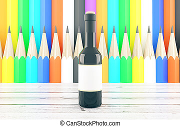 Wine bottle on pencil background - Wine bottle with blank...