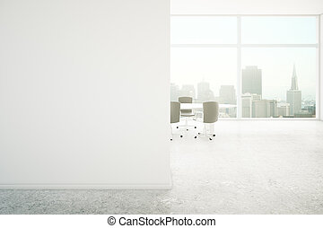 Conference room blank wall - Conference room interior with...