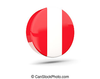 Round icon with flag of peru 3D illustration
