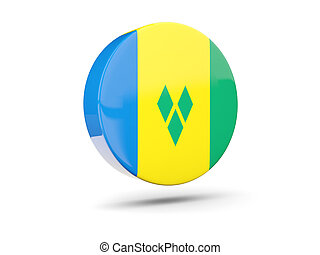 Round icon with flag of saint vincent and the grenadines 3D...