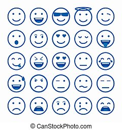 Set of Emoticons. Set of Emoji. Set of Avatar. Outline style...