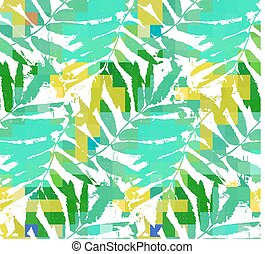 Green tropical leaves watercolor imitation seamless pattern...