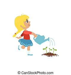 Girl Watering Flower Bed Simple Design Illustration In Cute...