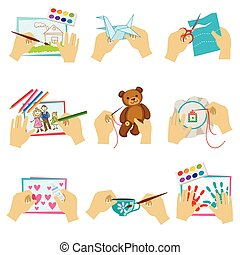 Hands Doing Different Crafts Set Of Bright Color Isolated...