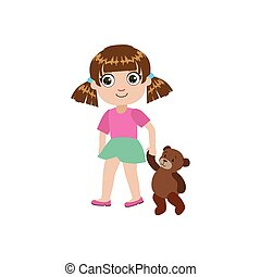 Girl Walking With Teddy Bear Colorful Simple Design Vector...