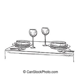 Hand Drawn wares. Romantic dinner for two.