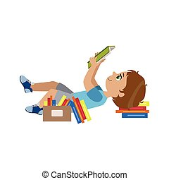 Boy Laying On The Back Reding Colorful Simple Design Vector...