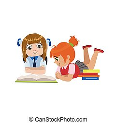 Teo Girls Reading One Book Colorful Simple Design Vector...