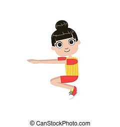 Girl Doing Sit Ups Simple Design Illustration In Cute Fun...
