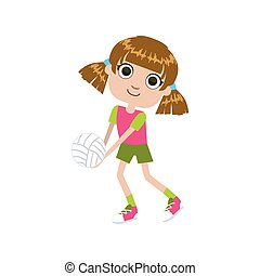 GIrl Playing Volleyball Simple Design Illustration In Cute...