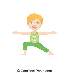 Happy Boy Doing Yoga Asana Bright Color Cartoon Childish...