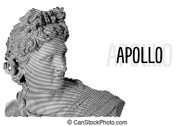 Apollo head antique sculpture engraving sketch