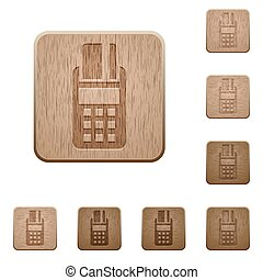 POS terminal wooden buttons - Set of carved wooden POS...