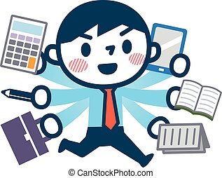Illustration of busy businessman - Vector...