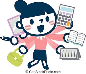 Illustration of busy career woman - Vector...