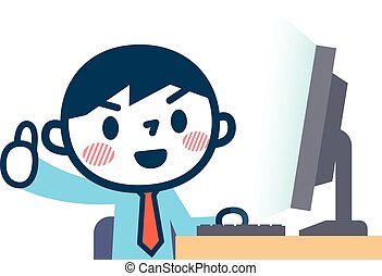 OK pose of businessman and a personal computer