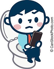 Man to see the mobile phone in the toilet - Vector...