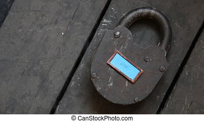 love text and old padlock - Love text and old padlock, Love...