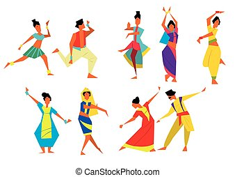 Indian dancers vector illustration. Cartoon style....