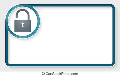 Blue text frame and white circle box with padlock