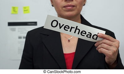 Businesswoman Cuts Overhead Concept - Female office worker...