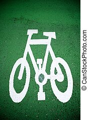 cycleway - Bike lane sign painted on a street