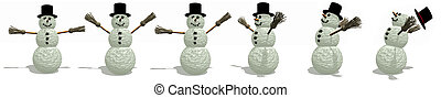 Snowmen Fun - Snowman Border with wind blowing, Illustration