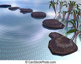 SteppingStones - 3d illustration of stepping stones in a...