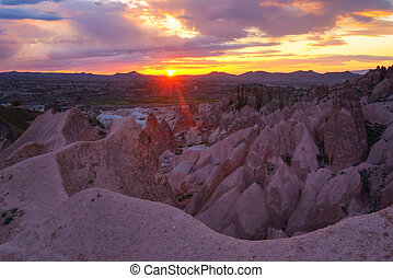 Cappadocia - Amazing view of red rose valley in Cappadocia,...