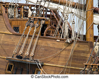 17th Century Galleon Detail - Detail from a 17th Century...