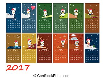 Calendar for 2017 year with rooster