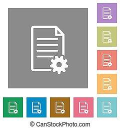 Document setup square flat icons - Document setup flat icon...