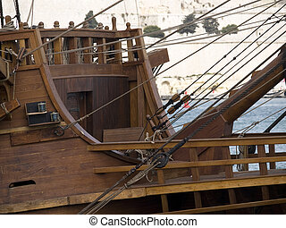 17th Century Galleon Forecastle - Detail from a 17th Century...
