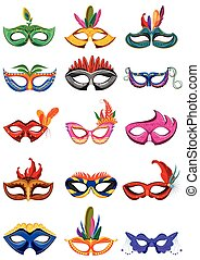Set of colorful carnival mask in vector