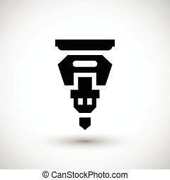 Drilling machine part icon isolated on grey. Vector...
